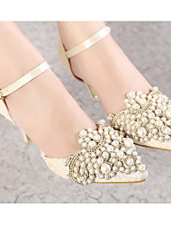 Women's Shoes Real Leather PU Spring Summer Basic Pump Heels For Casual Black Almond