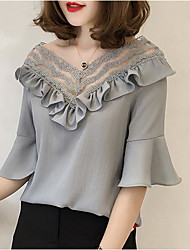 cheap -Women's Daily Going out Casual Sexy Spring Summer Blouse,Solid V Neck Polyester Medium