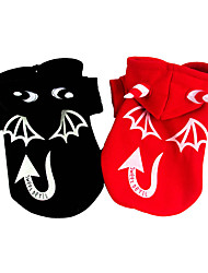 baratos -Cachorro Fantasias Casacos Roupas para Cães Dia Das Bruxas Anjo e Diabo Preto Vermelho