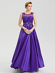 A-Line Illusion Neckline Floor Length Satin Evening Party Formal Dress with Crystal Applique Pleats by TS Couture®