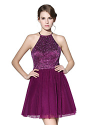 cheap -Princess Fit & Flare Halter Short / Mini Tulle Stretch Satin Honeymoon Cocktail Party Dress with Sequins by Sarahbridal