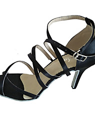 Women's Latin Satin Sandals Indoor Customized Heel Black