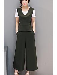 T-shirt Pantalone Completi abbigliamento Da donna Quotidiano Casual Semplice Estate,Tinta unita Rotonda Manica corta Anelastico