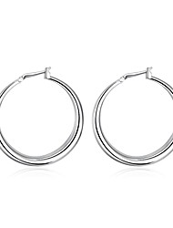 cheap -Women's Hoop Earrings - Silver Plated Euramerican Silver For Daily
