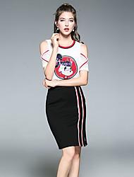 Feminino Japonesa/Curta Saia Conjuntos Casual Partido de escritório Fashion Verão,Bordado Decote Redondo Manga Curta strenchy