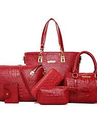 baratos -Mulheres Bolsas Couro Ecológico Conjuntos de saco 6 Pcs Purse Set Tachas Ziper para Festa/Eventos Formal Escritório e Carreira Todas as