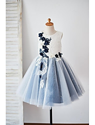 cheap -A-Line Knee Length Flower Girl Dress - Lace Tulle Sleeveless Jewel Neck with Appliques Scattered Crystals Style Flower by LAN TING Express