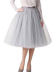 Shaperdiva Vintage Women Tulle Mesh A Line Knee Length Midi Tutu Skirts