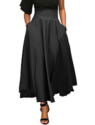 Women's Going out Casual/Daily Holiday Midi Skirts,Simple Street chic Swing Sexy Pleated Bow Solid Spring Summer