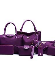 Women Bags All Seasons Nylon Bag Set 7 Pcs Purse Set for Casual Blue Black Purple Fuchsia