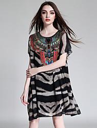 JIANRUYI Women's Going out Casual/Daily Boho Loose Chiffon DressLeopard Print Round Neck Midi Short Sleeve Chiffon Summer High Rise Inelastic Thin