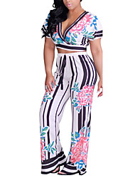 Women's Casual/Daily Club Sexy Vintage Bare Midriff Spring Summer T-shirt Wide leg Pant SuitsStriped Floral Deep V Short Sleeve Bow Micro-elastic