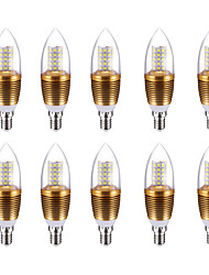 preiswerte -10W 700 lm E14 LED Kerzen-Glühbirnen C35 60 Leds SMD 2835 Kühles Weiß AC85-265