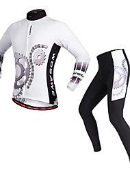 economico -WOSAWE Maglia con pantaloni da ciclismo Unisex Manica lunga Bicicletta Set di vestiti Ciclismo Poliestere Classico Primavera/Autunno