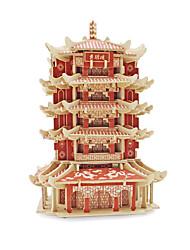 Недорогие -3D пазлы Пазлы Наборы для моделирования Знаменитое здание Китайская архитектура деревянный В китайском стиле Универсальные Игрушки Подарок