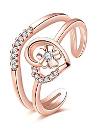 cheap -Women's Ring AAA Cubic Zirconia Personalized Floral Luxury Geometric Unique Design Classic Vintage Rhinestone Bohemian Basic Heart Circle