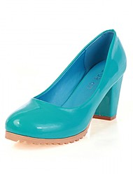 cheap -Women's Shoes Patent Leather Spring / Fall Comfort / Novelty Heels Walking Shoes Chunky Heel Round Toe Beige / Red / Blue / Dress