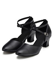 cheap -Women's Modern Shoes Leather Heel Professional Criss-Cross Chunky Heel Customizable Dance Shoes Black
