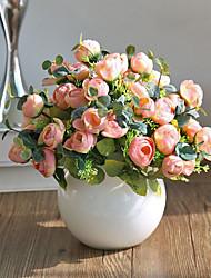 economico -10 teste / ramo multicolore tè rosa decorazione della casa fiori artificiali