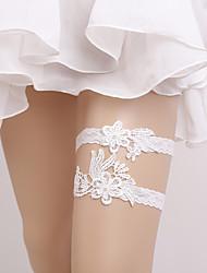 Недорогие -Эластичный Свадебный подвязка - Жемчуг
