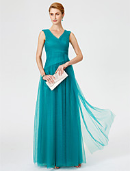 Princess V-neck Floor Length Tulle Mother of the Bride Dress with Criss Cross Ruching by LAN TING BRIDE®