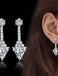 cheap -Women's Drop Earrings AAA Cubic Zirconia Fashion Vintage Elegant Silver Triangle Shape Drop Earrings Jewelry For Wedding Engagement Daily Party