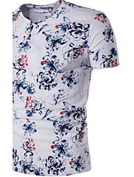 Men's Casual/Daily Simple Spring Summer T-shirt,Floral Round Neck Short Sleeves Linen