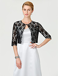 cheap -Half Sleeves Lace Wedding Party / Evening Women's Wrap With Buckle Lace Shrugs