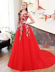 cheap -A-Line Princess V-neck Court Train Organza Tulle Formal Evening Wedding Party Dress with Beading Embroidery by QZ
