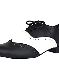 cheap -Men's Latin Leatherette Leather Heel Indoor Customized Heel Black/White Customizable