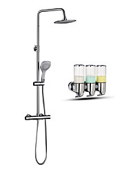 cheap -Modern/Contemporary Shower System Rain Shower Handshower Included Thermostatic Ceramic Valve Two Holes Chrome, Faucet Set