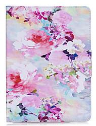 billige -Taske til iPad iPad 2 pro 9.7 '' taske cover blomstermønster pu materiale triple tablet pc tilfælde telefon taske ipad 2 3 4 air
