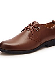 cheap -Men's Dress Shoes Leather Spring / Fall Comfort Oxfords Walking Shoes Brown