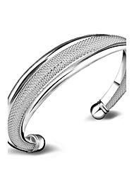 Femme Manchettes Bracelets Bijoux Mode Cuivre Plaqué argent Forme de Cercle Bijoux Pour Mariage Occasion spéciale Quotidien