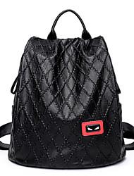 baratos -Mulheres Bolsas Pele de Carneiro mochila para Casual Todas as Estações Preto Vermelho