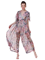 ANGELL Women's High Rise Going out Casual/Daily Holiday JumpsuitsSimple Street chic Wide Leg Floral Print Summer Fall
