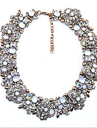 Women's Collar Necklace Synthetic Aquamarine Multi-stone Crystal Cubic Zirconia Synthetic Diamond Synthetic Ruby Circle Round Crystal