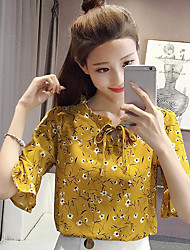 cheap -Women's Daily Casual Blouse,Print V Neck Half Sleeves Others