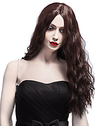 cheap -Charming Hairstyle Synthetic Hair Long Curly Wig Middle Part Puffy Brown Wig For African American Women