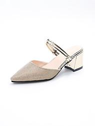 preiswerte -Damen Schuhe PU Frühling Sommer Komfort Pumps Sandalen Blockabsatz Spitze Zehe für Kleid Party & Festivität Gold Silber