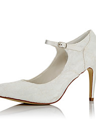 cheap -Women's Shoes Lace / Satin Fall / Winter Basic Pump Heels Stiletto Heel Pointed Toe Ivory / Wedding / Party & Evening