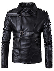 cheap -Men's Daily Simple Vintage Casual Winter Fall Leather Jacket,Solid Peaked Lapel Long Sleeve Regular PU