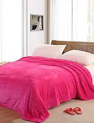 Недорогие -Коралловый флис Сплошной цвет Смешанная хлопковая ткань одеяла