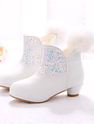 Girls' Shoes Leather Winter Comfort Boots For Casual White Blushing Pink