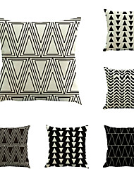 Set Of 6 Black & White Geometry Triangle Stripe Pillow Cover Sofa Cushion Cover Cotton/Linen Pillow Case
