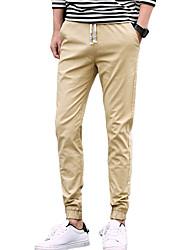 Men's Mid Rise Micro-elastic Jogger Chinos PantsSimple Slim Solid UK-583