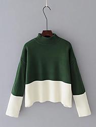 economico -Standard Pullover Da donna-Per uscire Casual Semplice Romantico Monocolore Rotonda Manica lunga Cotone Primavera Autunno Medio spessore