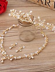 baratos -Imitação de Pérola Strass Liga Tiaras Headbands Flores 1 Casamento Ocasião Especial Aniversário Capacete