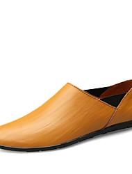 Herren Loafers & Slip-Ons Komfort Leder Sommer Herbst Normal Walking Geflochtene Riemchen Kombination Flacher AbsatzSchwarz Dunkel Braun