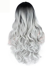 cheap -High Quality Long Wave Black To Grey Color Middel Part Wigs Fashion Sexy Women Wigs Natural Hair Synthetic Cosplay Wigs